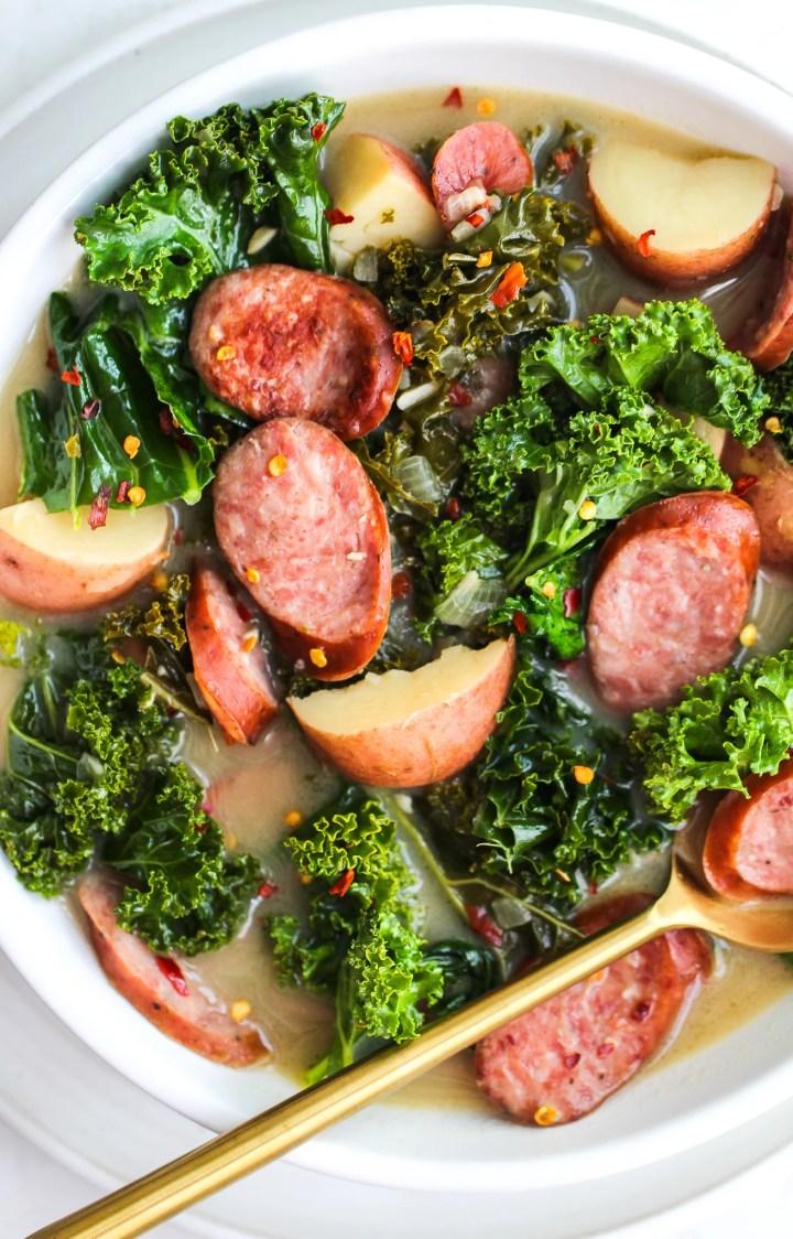 Bowl of sausage, kale & potato soup