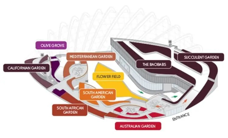 Map of Flower Dome, Gardens by the Bay