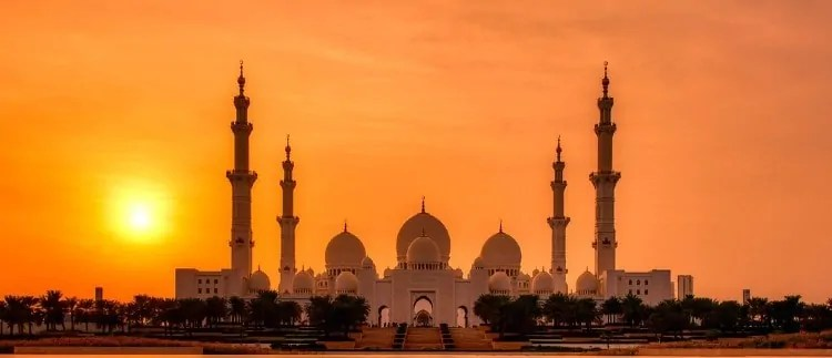 Sunset at Sheikh Zayed Mosque