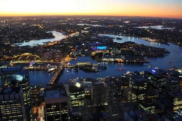 View from Sydney Tower at night