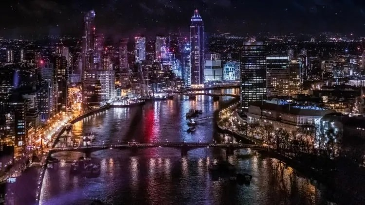 View from London Eye at night