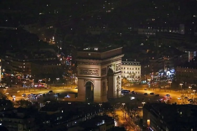 Arc de Triomphe as seen from Eiffel Tower at night