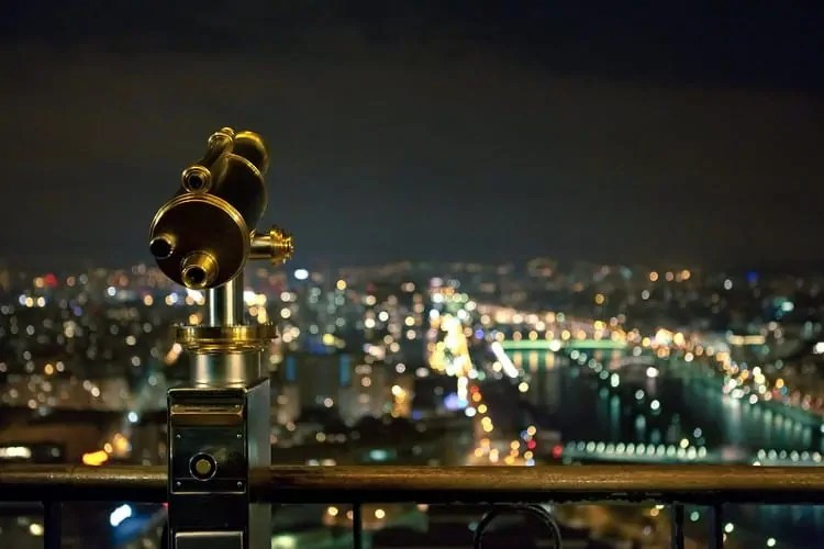 Night view from next to Eiffel Tower's monocular