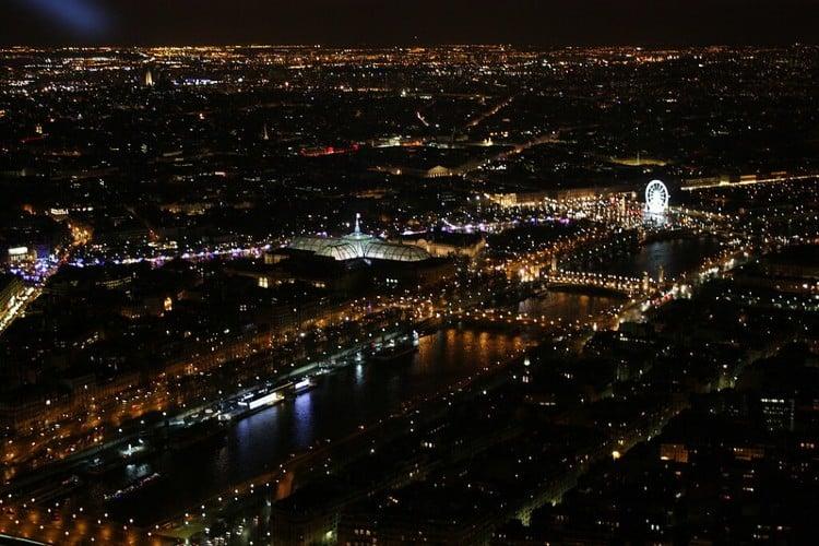 Seine River seen from Eiffel Tower Summit at night