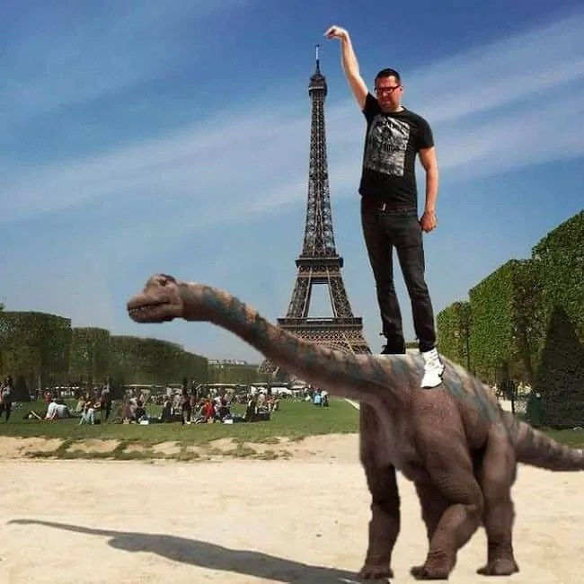 Touching the Eiffel Tower has been a practice since the dinosaur days