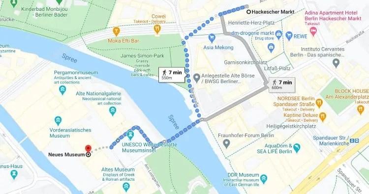 Hackescher Markt station to Neues Museum