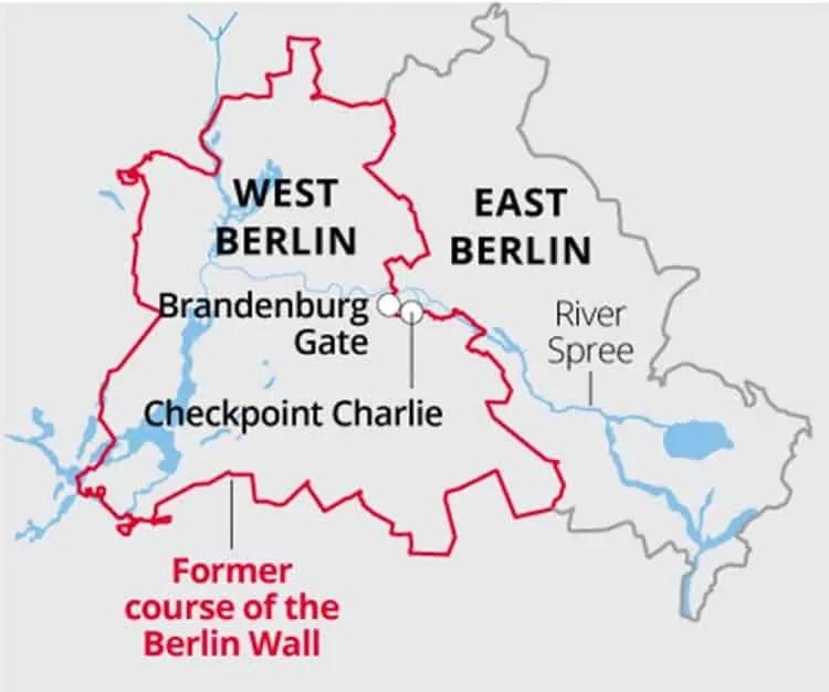 Location of Brandenburg Gate on Berlin wall map