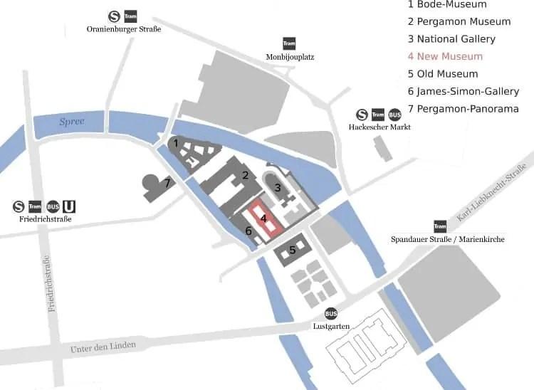 Neues Museum's location on Museum Island