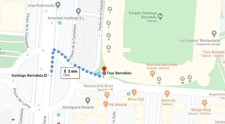 Santiago Bernabeu Stadium to Tour Bernabeu