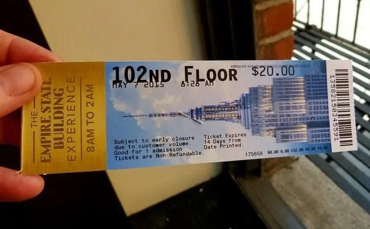 Empire State Building 102 floor upgrade ticket