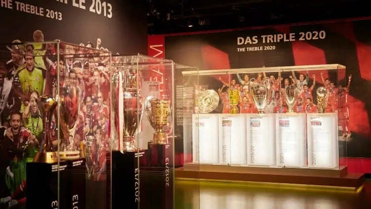 FC Bayern's 2020 treble displayed at the Museum
