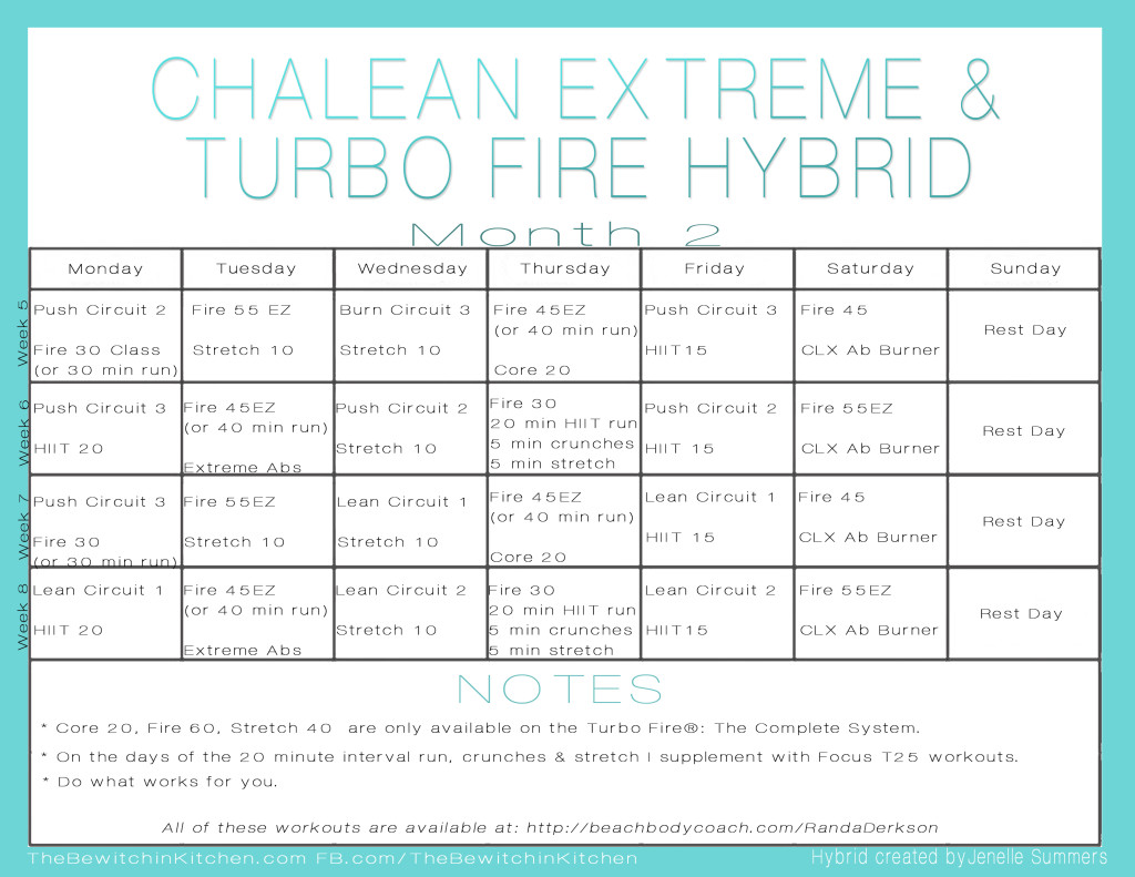 Turbo Fire Chalean Extreme Hybrid Schedule By Jenelle