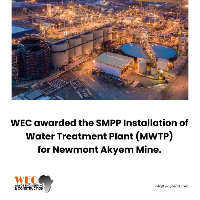 WEC wins SMPP installation of water treatment plant contract for Newmont Akyem Mine