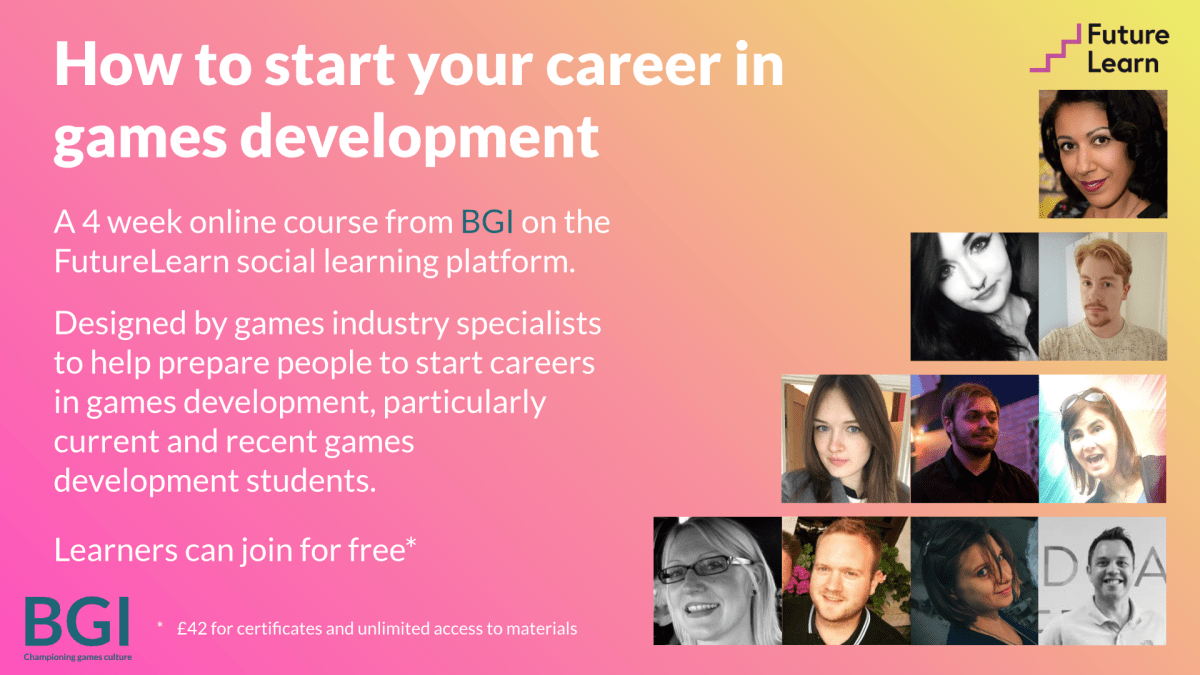 BGI launches FutureLearn course: supporting those wanting to start a career in games development