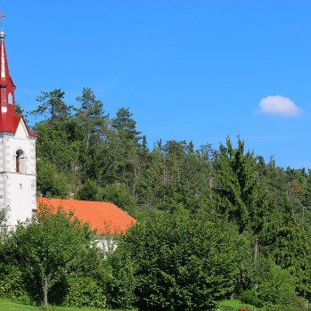 Classic red-roofed Slovenian church