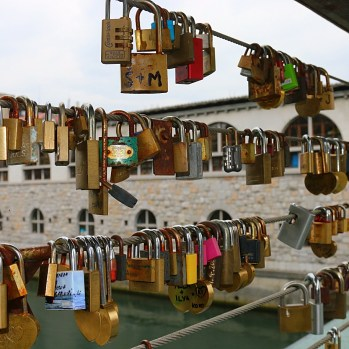 Padlocks in Slovenian capital city, Ljubljana, attached by lovers for good luck.