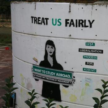 Graffiti in south Mitrovica.