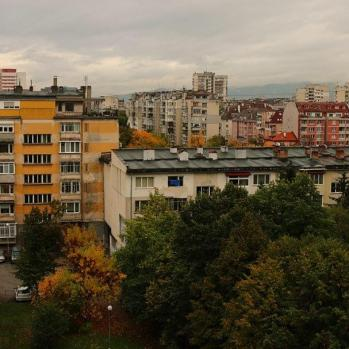 View of ex-Comecon, Brutalist tower blocks from my second hosts' flat in Sofia.