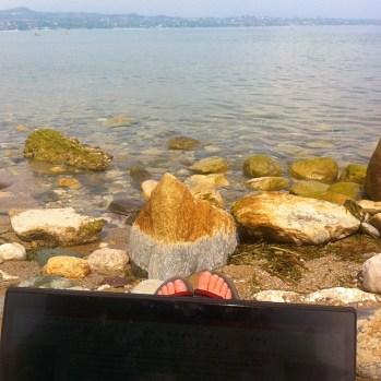 Working hard at Lake Garda