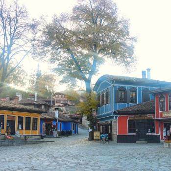 Colourful timber architecture in Koprivshtitsa, perfectly restored to capture the atmosphere of the C19th Bulgarian National Revival period.
