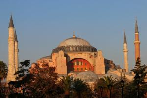The dreamily dusky pink Hagia Sophia, dating from 537: a Greek Orthodox Christian church, later converted into a Catholic cathedral and then an Ottoman mosque. Now a museum.