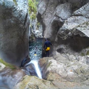 Canyoning - scary, chilly and fantastic fun.