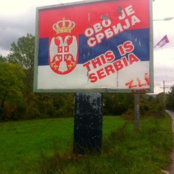 A sign in North Kosovo. Kosovo declared independence in 2008, but Serbia is yet to recognise it.
