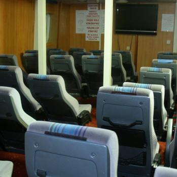 The empty seating: the boat is almost empty.