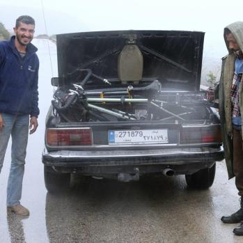 Heavens open and water buckets down like a sheet. Luckily two nice-if-a-tad-sketchy-looking men stop to help me out, driving me the remaining few km to Byblos.