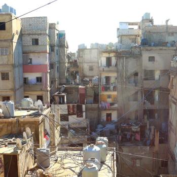 Shatila camp for Palestinians in Beirut, Lebanon, where approx 16,000 residents are packed into barely one square km and vast tangles of naked live wires hang amid water pipes overhead.