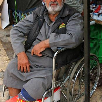 A 60-year-old man from Baghdad who came to Amman 13 years ago. Lost leg due to gangrene, and now sells mobile phone parts in the market. Kindly buys me tea with sage, despite my protests.
