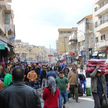 Bustling streets outside the mosque.