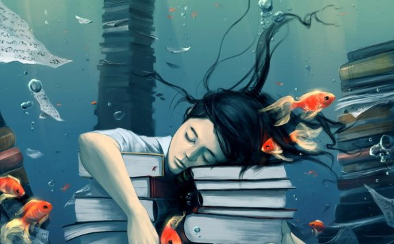 Books underwater