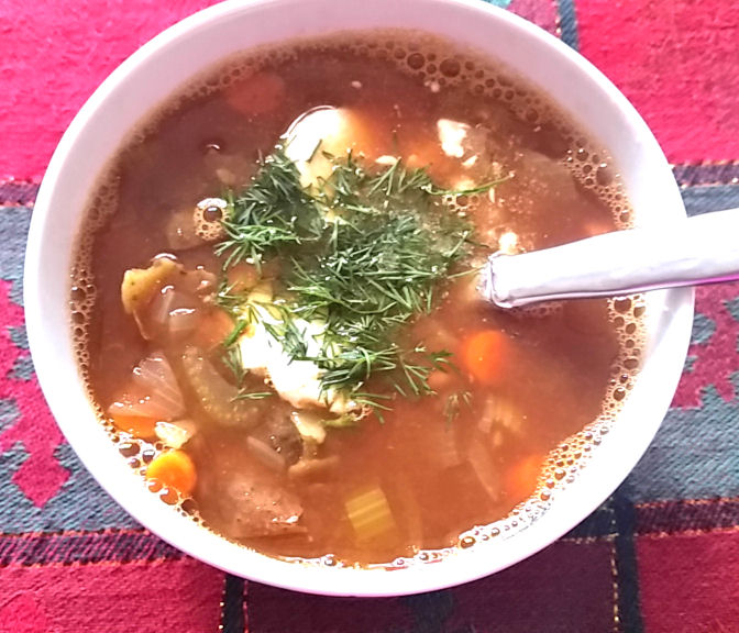Vegetable-Lentil- Soup-with Mushrooms-and Tomatoes