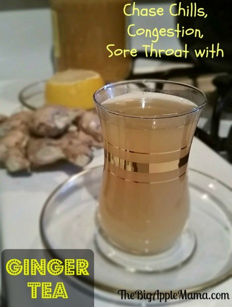 ginger tea helps loosen nasal congestion, sore throat, relieves chills
