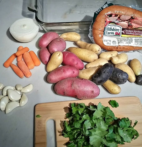 ingredients for Oven roasted smoked sausage and potatoes
