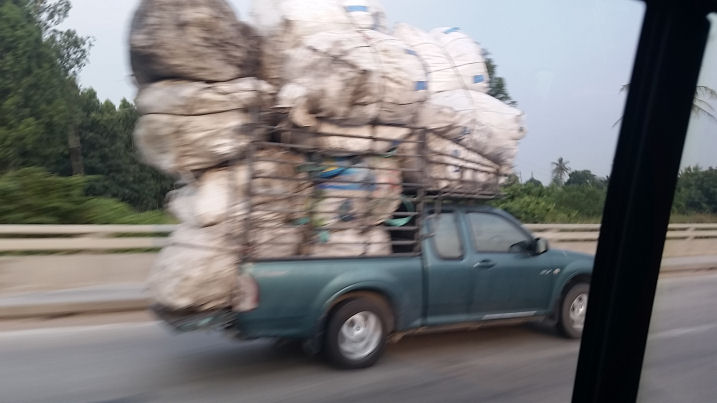 truck carrying stuff in thailand