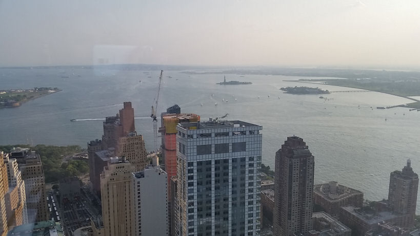 statue of liberty view from 57th floor rooftop of 4wtc