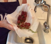 use paper towel to strain fruits and veggies under the faucet