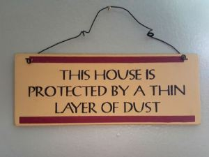 this house is protected by a thin layer of dust wall plaque
