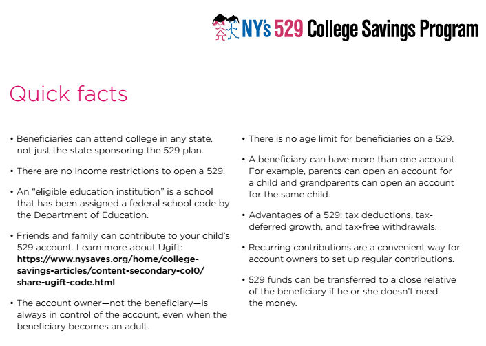 NY 529 quick facts