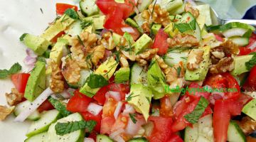 Tomato Avocado Cucumber Walnut Salad