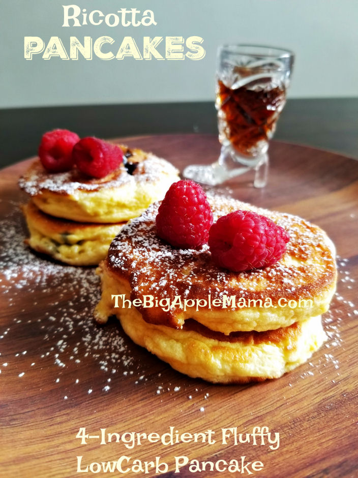4-Ingredient fluffy low-carb ricotta pancakes
