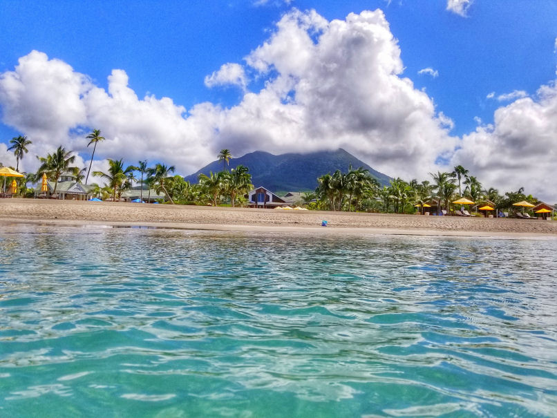 Vew of mt. Nevis from Pinneys beach