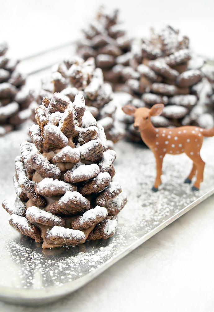 Chocolate crunchy pine cones - Easy, Quick and festive recipe