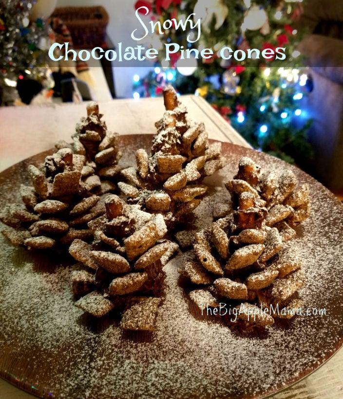 Edible Snowy Chocolate Pine cones - Crunchy, Salty, Sweet, Festive, Delicious