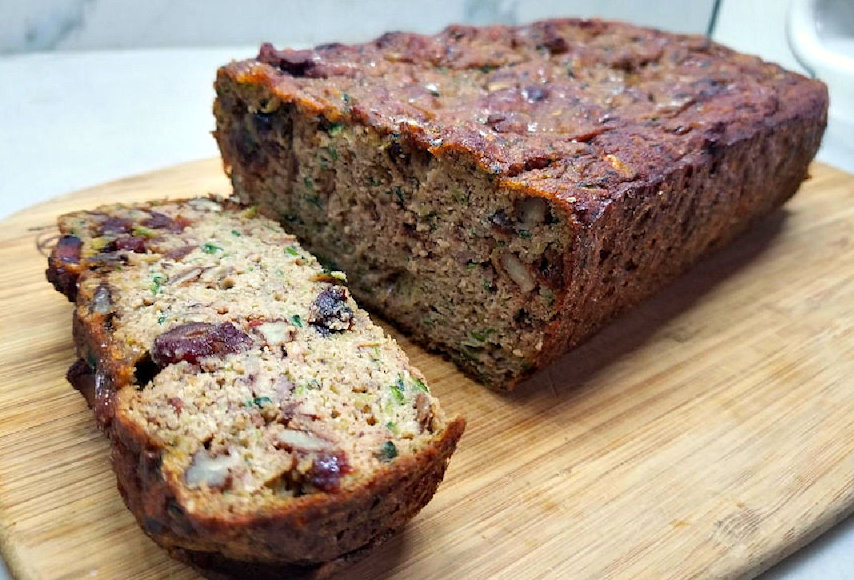 Low Carb Keto friendly, Banana Zucchini bread with walnuts and cranberries