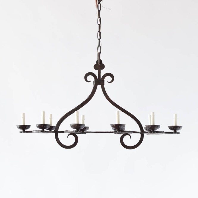 Vintage Iron Chandelier From Belgium