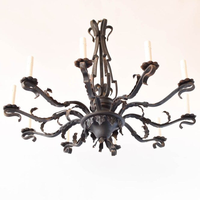 Large Simple Iron Chandelier From Belgium