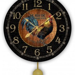 Wooden Kitchen Clock Remodeling Houston Tx Rooster For The Country Wall Pendulum Wood And Black